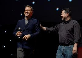 LONDON, ENGLAND - JULY 15: Alan Tudyk and John Knoll on stage during the Rogue One Panel at the Star Wars Celebration 2016 at ExCel on July 15, 2016 in London, England. (Photo by Ben A. Pruchnie/Getty Images for Walt Disney Studios) *** Local Caption *** Alan Tudyk; John Knoll