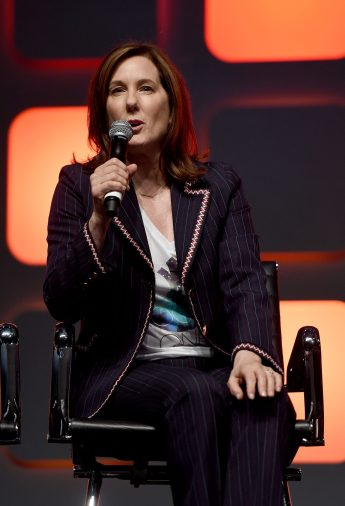 LONDON, ENGLAND - JULY 15: Producer Kathleen Kennedy on stage during the Rogue One Panel at the Star Wars Celebration 2016 at ExCel on July 15, 2016 in London, England. (Photo by Ben A. Pruchnie/Getty Images for Walt Disney Studios) *** Local Caption *** Kathleen Kennedy