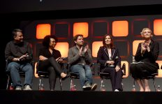 LONDON, ENGLAND - JULY 15: (L-R) Writer John Knoll, co-producer Kiri Hart, director Gareth Edwards, producer Kathleen Kennedy and host Gwendoline Christie on stage during the Rogue One Panel at the Star Wars Celebration 2016 at ExCel on July 15, 2016 in London, England. (Photo by Ben A. Pruchnie/Getty Images for Walt Disney Studios) *** Local Caption *** John Knoll; Kiri Hart; Gareth Edwards; Kathleen Kennedy; Gwendoline Christie