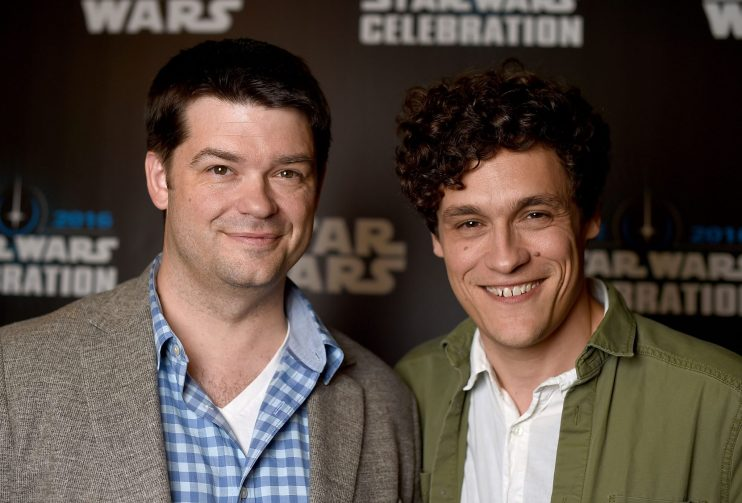 """LONDON, ENGLAND - JULY 17: Chris Miller (L) and Phil Lord, directors of """"Untitled Han Solo Star Wars Story"""", attends the Star Wars Celebration 2016 at ExCel on July 17, 2016 in London, England. (Photo by Ben A. Pruchnie/Getty Images for Walt Disney Studios) *** Local Caption *** Chris Miller; Phil Lord"""
