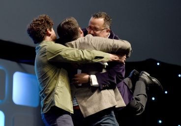 """LONDON, ENGLAND - JULY 17: (L-R) Phil Lord, Chris Miller, directors of """"Untitled Han Solo Star Wars Story"""", and Pablo Hidalgo on stage during Future Directors Panel at the Star Wars Celebration 2016 at ExCel on July 17, 2016 in London, England. (Photo by Ben A. Pruchnie/Getty Images for Walt Disney Studios) *** Local Caption *** Phil Lord; Chris Miller; Pablo Hidalgo"""