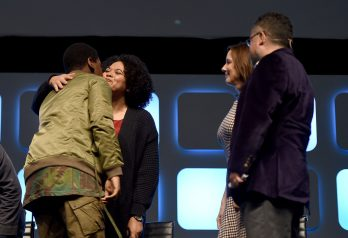 LONDON, ENGLAND - JULY 17: (L-R) John Boyega, Kiri Hart, Kathleen Kennedy and Pablo Hidalgo on stage during Future Directors Panel at the Star Wars Celebration 2016 at ExCel on July 17, 2016 in London, England. (Photo by Ben A. Pruchnie/Getty Images for Walt Disney Studios) *** Local Caption *** John Boyega; Kiri Hart; Kathleen Kennedy; Pablo Hidalgo