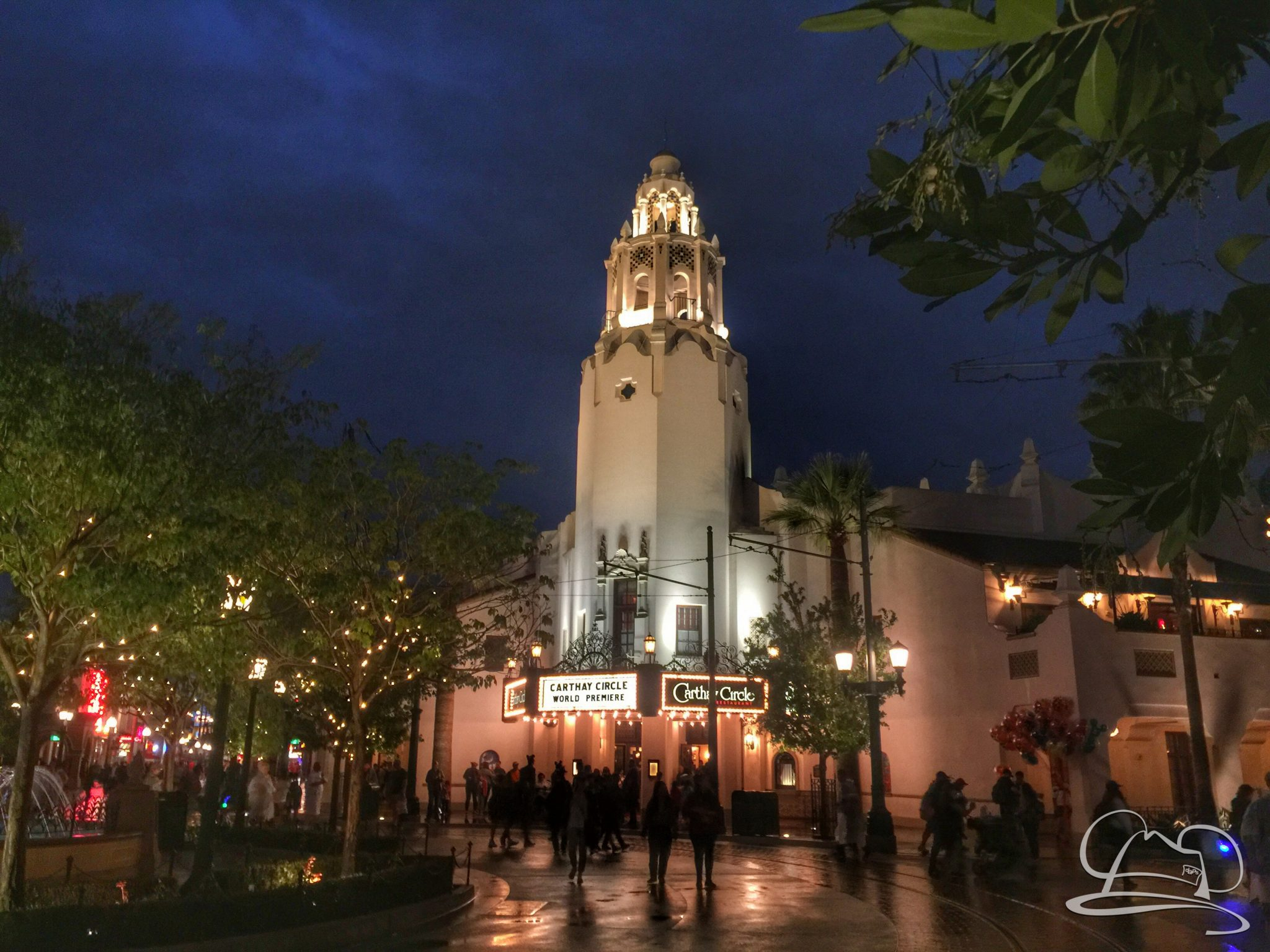 Carthay Circle in Disney California Adventure on a rainy night at the Disneyland Resort