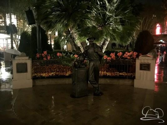 Storytellers Statue on a Rainy Night at the Disneyland Resort