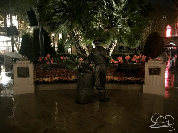 Storytellers Statue on a Rainy Night at the Disneyland Resort