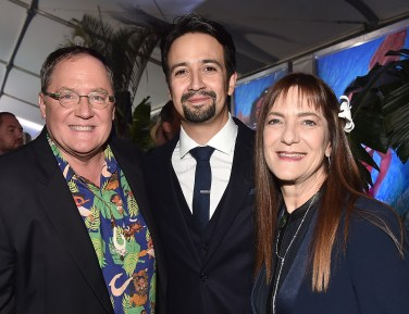 """HOLLYWOOD, CA - NOVEMBER 14: (L-R) Executive producer John Lasseter, songwriter Lin-Manuel Miranda and producer Osnat Shurer attend The World Premiere of Disney's """"MOANA"""" at the El Capitan Theatre on Monday, November 14, 2016 in Hollywood, CA. (Photo by Alberto E. Rodriguez/Getty Images for Disney) *** Local Caption *** John Lasseter; Lin-Manuel Miranda; Osnat Shurer"""