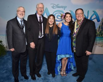 "HOLLYWOOD, CA - NOVEMBER 14: (L-R) Directors Ron Clements and John Musker, producer Osnat Shurer, actress Auli'i Cravalho and executive producer John Lasseter attend The World Premiere of Disney's ""MOANA"" at the El Capitan Theatre on Monday, November 14, 2016 in Hollywood, CA. (Photo by Alberto E. Rodriguez/Getty Images for Disney) *** Local Caption *** Ron Clements; John Musker; Osnat Shurer; Auli'i Cravalho; John Lasseter"