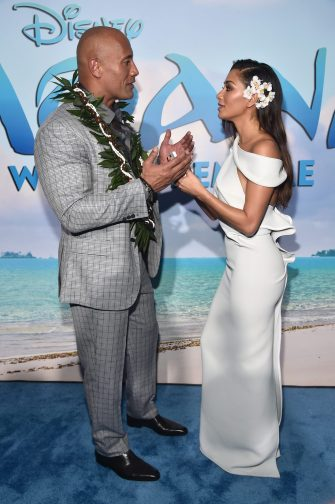 "HOLLYWOOD, CA - NOVEMBER 14: Actors Dwayne Johnson (L) and Nicole Scherzinger attend The World Premiere of Disney's ""MOANA"" at the El Capitan Theatre on Monday, November 14, 2016 in Hollywood, CA. (Photo by Alberto E. Rodriguez/Getty Images for Disney) *** Local Caption *** Nicole Scherzinger; Dwayne Johnson"