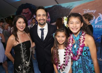 "HOLLYWOOD, CA - NOVEMBER 14: (L-R) Olympian figure skater Kristi Yamaguchi, songwriter Lin-Manuel Miranda, and guests attend The World Premiere of Disney's ""MOANA"" at the El Capitan Theatre on Monday, November 14, 2016 in Hollywood, CA. (Photo by Jesse Grant/Getty Images for Disney) *** Local Caption *** Kristi Yamaguchi; Lin-Manuel Miranda"