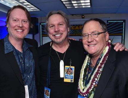 "HOLLYWOOD, CA - NOVEMBER 14: (L-R) Co-director Don Hall, composer Mark Mancina and executive producer John Lasseter attend The World Premiere of Disney's ""MOANA"" at the El Capitan Theatre on Monday, November 14, 2016 in Hollywood, CA. (Photo by Alberto E. Rodriguez/Getty Images for Disney) *** Local Caption *** John Lasseter; Mark Mancina; Don Hall"
