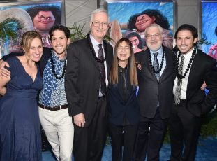 """HOLLYWOOD, CA - NOVEMBER 14: (L-R) Writers Pamela Ribon and Aaron Kandell, director John Musker, producer Osnat Shurer, director Ron Clements, and writer Jordan Kandell attend The World Premiere of Disney's """"MOANA"""" at the El Capitan Theatre on Monday, November 14, 2016 in Hollywood, CA. (Photo by Alberto E. Rodriguez/Getty Images for Disney) *** Local Caption *** John Musker; Ron Clements; Pamela Ribon; Aaron Kandell; Jordan Kandell; Osnat Shurer"""