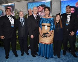 """HOLLYWOOD, CA - NOVEMBER 14: (L-R) Hon. Etani Tuku'aho, directors Ron Clements and John Musker, Hon. Frederica Tuita Filipe, producer Osnat Shurer, and Prince Tungi attend The World Premiere of Disney's """"MOANA"""" at the El Capitan Theatre on Monday, November 14, 2016 in Hollywood, CA. (Photo by Alberto E. Rodriguez/Getty Images for Disney) *** Local Caption *** Etani Tuku'aho; John Musker; Ron Clements; Prince Tungi; Hon. Frederica Tuita Filipe; Osnat Shurer"""