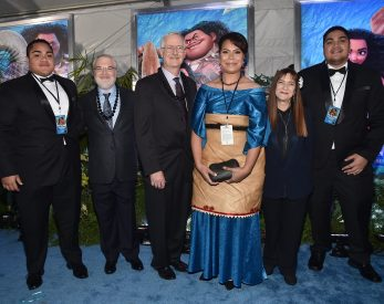 "HOLLYWOOD, CA - NOVEMBER 14: (L-R) Hon. Etani Tuku'aho, directors Ron Clements and John Musker, Hon. Frederica Tuita Filipe, producer Osnat Shurer, and Prince Tungi attend The World Premiere of Disney's ""MOANA"" at the El Capitan Theatre on Monday, November 14, 2016 in Hollywood, CA. (Photo by Alberto E. Rodriguez/Getty Images for Disney) *** Local Caption *** Etani Tuku'aho; John Musker; Ron Clements; Prince Tungi; Hon. Frederica Tuita Filipe; Osnat Shurer"