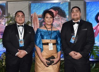 "HOLLYWOOD, CA - NOVEMBER 14: (L-R) Hon. Etani Tuku'aho, Hon. Frederica Tuita Filipe and Prince Tungi attend The World Premiere of Disney's ""MOANA"" at the El Capitan Theatre on Monday, November 14, 2016 in Hollywood, CA. (Photo by Alberto E. Rodriguez/Getty Images for Disney) *** Local Caption *** Etani Tuku'aho; Prince Tungi; Hon. Frederica Tuita Filipe"