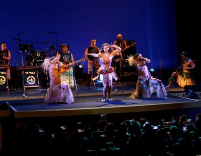 "HOLLYWOOD, CA - NOVEMBER 14: Musicians Olivia Foa'i (C), Opetaia Foa'i (R) and band Te Vaka perform onstage at The World Premiere of Disney's ""MOANA"" at the El Capitan Theatre on Monday, November 14, 2016 in Hollywood, CA. (Photo by Jesse Grant/Getty Images for Disney) *** Local Caption *** Olivia Foa'i; Opetaia Foa'i"
