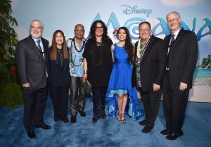 """HOLLYWOOD, CA - NOVEMBER 14: (L-R) Co-director Ron Clements, Producer Osnat Shurer, actors Temuera Morrison, Rachel House, Auli'i Cravalho, Executive producer John Lasseter and co-director John Musker attend The World Premiere of Disney's """"MOANA"""" at the El Capitan Theatre on Monday, November 14, 2016 in Hollywood, CA. (Photo by Alberto E. Rodriguez/Getty Images for Disney) *** Local Caption *** Ron Clements; Osnat Shurer; Temuera Morrison; Rachel House; Auli'i Cravalho; John Lasseter; John Musker"""