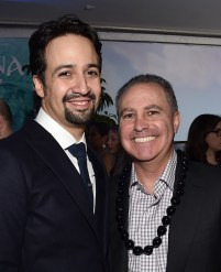 "HOLLYWOOD, CA - NOVEMBER 14: Songwriter Lin-Manuel Miranda (L) and Walt Disney Studios President Alan Bergman attend The World Premiere of Disney's ""MOANA"" at the El Capitan Theatre on Monday, November 14, 2016 in Hollywood, CA. (Photo by Alberto E. Rodriguez/Getty Images for Disney) *** Local Caption *** Lin-Manuel Miranda; Alan Bergman"