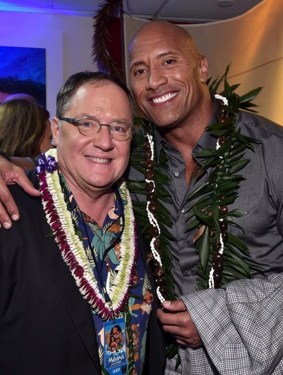 """HOLLYWOOD, CA - NOVEMBER 14: Executive producer John Lasseter (L) and Actor Dwayne Johnson attend The World Premiere of Disney's """"MOANA"""" at the El Capitan Theatre on Monday, November 14, 2016 in Hollywood, CA. (Photo by Alberto E. Rodriguez/Getty Images for Disney) *** Local Caption *** John Lasseter; Dwayne Johnson"""