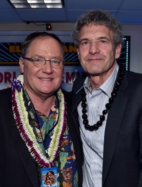 """HOLLYWOOD, CA - NOVEMBER 14: Executive producer John Lasseter (L) and Chairman, The Walt Disney Studios, Alan Horn attend The World Premiere of Disney's """"MOANA"""" at the El Capitan Theatre on Monday, November 14, 2016 in Hollywood, CA. (Photo by Alberto E. Rodriguez/Getty Images for Disney) *** Local Caption *** John Lasseter; Alan Horn"""