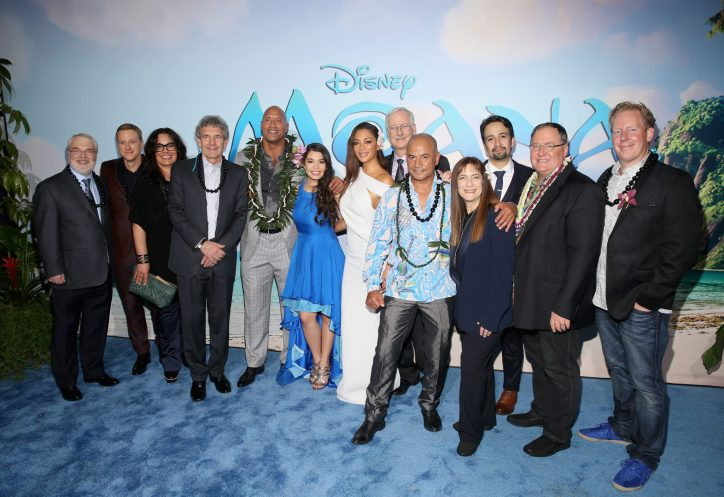 "HOLLYWOOD, CA - NOVEMBER 14: (L-R) Co- Director Ron Clements, actors Alan Tudyk, Rachel House, Chairman, The Walt Disney Studios, Alan Horn, actors Dwayne Johnson, Auli'i Cravalho, Nicole Scherzinger, co-director John Musker, actor Temuera Morrison, Producer Osnat Shurer, Songwriter Lin-Manuel Miranda, Executive producer John Lasseter and Screenwriter Jared Bush attend The World Premiere of Disney's ""MOANA"" at the El Capitan Theatre on Monday, November 14, 2016 in Hollywood, CA. (Photo by Jesse Grant/Getty Images for Disney) *** Local Caption *** Ron Clements; Alan Tudyk; Rachel House; Alan Horn; Dwayne Johnson; Auli'i Cravalho; Nicole Scherzinger; John Musker; Temuera Morrison; Osnat Shurer; Lin-Manuel Miranda; John Lasseter; Jared Bush"