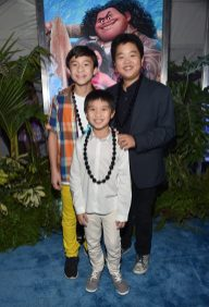 """HOLLYWOOD, CA - NOVEMBER 14: (L-R) Actors Forrest Wheeler, Ian Chen and Hudson Yang attend The World Premiere of Disney's """"MOANA"""" at the El Capitan Theatre on Monday, November 14, 2016 in Hollywood, CA. (Photo by Alberto E. Rodriguez/Getty Images for Disney) *** Local Caption *** Forrest Wheeler; Ian Chen; Hudson Yang"""