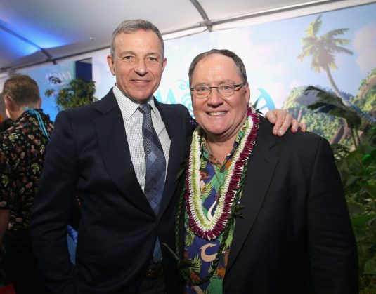 "HOLLYWOOD, CA - NOVEMBER 14: Walt Disney Company Chairman/CEO Bob Iger (L) and executive producer John Lasseter attend The World Premiere of Disney's ""MOANA"" at the El Capitan Theatre on Monday, November 14, 2016 in Hollywood, CA. (Photo by Jesse Grant/Getty Images for Disney) *** Local Caption *** Bob Iger; John Lasseter"