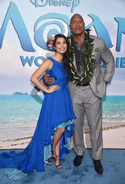 "HOLLYWOOD, CA - NOVEMBER 14: Actors Auli'i Cravalho (L) and Dwayne Johnson attend The World Premiere of Disney's ""MOANA"" at the El Capitan Theatre on Monday, November 14, 2016 in Hollywood, CA. (Photo by Alberto E. Rodriguez/Getty Images for Disney) *** Local Caption *** Auli'i Cravalho; Dwayne Johnson"