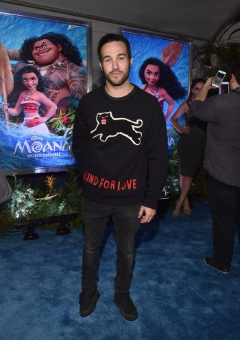 "HOLLYWOOD, CA - NOVEMBER 14: Musician Pete Wentz attends The World Premiere of Disney's ""MOANA"" at the El Capitan Theatre on Monday, November 14, 2016 in Hollywood, CA. (Photo by Alberto E. Rodriguez/Getty Images for Disney) *** Local Caption *** Pete Wentz"