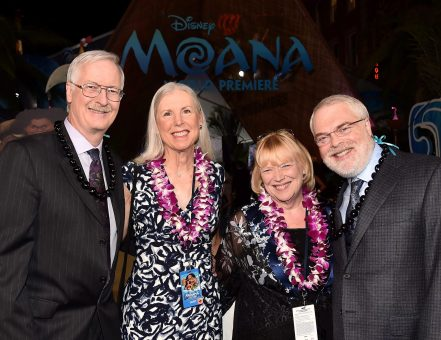 "HOLLYWOOD, CA - NOVEMBER 14: (L-R) Director John Musker, Gale Musker, Tamara Lee Clements, and director Ron Clements attend The World Premiere of Disney's ""MOANA"" at the El Capitan Theatre on Monday, November 14, 2016 in Hollywood, CA. (Photo by Alberto E. Rodriguez/Getty Images for Disney) *** Local Caption *** Ron Clements; Gale Musker; Tamara Lee Clements; John Musker"