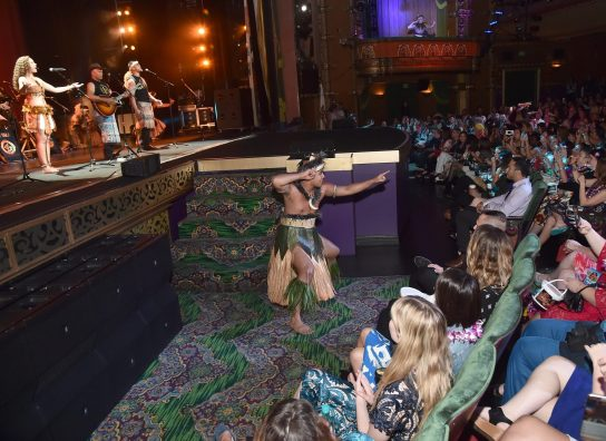 "HOLLYWOOD, CA - NOVEMBER 14: Musicians Olivia Foa'i (L), Opetaia Foa'i (C) and band Te Vaka perform onstage with dancers at The World Premiere of Disney's ""MOANA"" at the El Capitan Theatre on Monday, November 14, 2016 in Hollywood, CA. (Photo by Alberto E. Rodriguez/Getty Images for Disney) *** Local Caption *** Olivia Foa'i; Opetaia Foa'i"