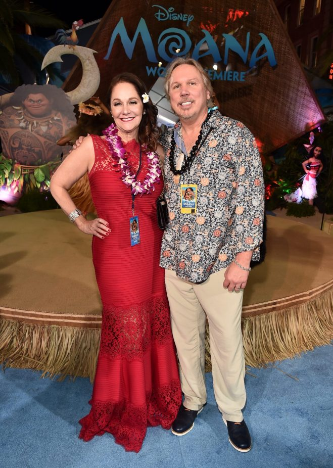 "HOLLYWOOD, CA - NOVEMBER 14: Composer Mark Mancina (R) and guest attend The World Premiere of Disney's ""MOANA"" at the El Capitan Theatre on Monday, November 14, 2016 in Hollywood, CA. (Photo by Alberto E. Rodriguez/Getty Images for Disney) *** Local Caption *** Mark Mancina"