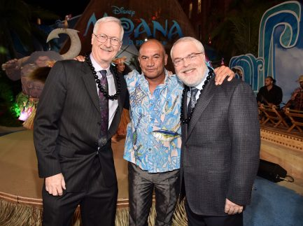"HOLLYWOOD, CA - NOVEMBER 14: (L-R) Director John Musker, actor Temuera Morrison, and director Ron Clements attend The World Premiere of Disney's ""MOANA"" at the El Capitan Theatre on Monday, November 14, 2016 in Hollywood, CA. (Photo by Alberto E. Rodriguez/Getty Images for Disney) *** Local Caption *** John Musker; Temuera Morrison; Ron Clements"