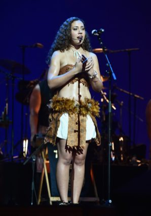 """HOLLYWOOD, CA - NOVEMBER 14: Musician Olivia Foa'i performs onstage at The World Premiere of Disney's """"MOANA"""" at the El Capitan Theatre on Monday, November 14, 2016 in Hollywood, CA. (Photo by Alberto E. Rodriguez/Getty Images for Disney) *** Local Caption *** Olivia Foa'i"""