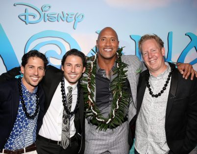 "HOLLYWOOD, CA - NOVEMBER 14: (L-R) Writers Aaron Kandell and Jordan Kandell, actor Dwayne Johnson, and screenwriter Jared Bush attend The World Premiere of Disney's ""MOANA"" at the El Capitan Theatre on Monday, November 14, 2016 in Hollywood, CA. (Photo by Jesse Grant/Getty Images for Disney) *** Local Caption *** Dwayne Johnson; Jared Bush; Aaron Kandell; Jordan Kandell"