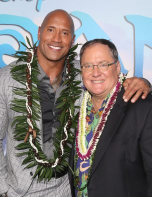"HOLLYWOOD, CA - NOVEMBER 14: Actor Dwayne Johnson (L) and executive producer John Lasseter attend The World Premiere of Disney's ""MOANA"" at the El Capitan Theatre on Monday, November 14, 2016 in Hollywood, CA. (Photo by Jesse Grant/Getty Images for Disney) *** Local Caption *** John Lasseter; Dwayne Johnson"