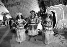 """HOLLYWOOD, CA - NOVEMBER 14: (EDITORS NOTE: Image has been shot in black and white. Color version not available.) (L-R) Dancers Anika Quinones, Kekaimana Kaho'ohanohano and Kiana Vergara attend The World Premiere of Disney's """"MOANA"""" at the El Capitan Theatre on Monday, November 14, 2016 in Hollywood, CA. (Photo by Charley Gallay/Getty Images for Disney) *** Local Caption *** Anika Quinones; Kekaimana Kaho'ohanohano; Kiana Vergara"""
