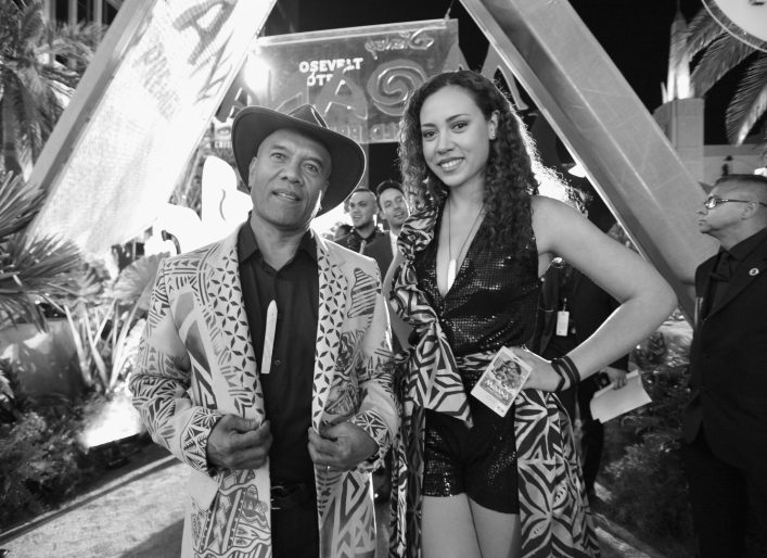 "HOLLYWOOD, CA - NOVEMBER 14: (EDITORS NOTE: Image has been shot in black and white. Color version not available.) Musicians Opetaia Foa'i (L) and Olivia Foa'i of Te Vaka attend The World Premiere of Disney's ""MOANA"" at the El Capitan Theatre on Monday, November 14, 2016 in Hollywood, CA. (Photo by Charley Gallay/Getty Images for Disney) *** Local Caption *** Opetaia Foa'i; Olivia Foa'i"