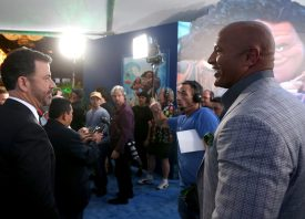 """HOLLYWOOD, CA - NOVEMBER 14: TV personality Jimmy Kimmel (L) and actor Dwayne Johnson attend The World Premiere of Disney's """"MOANA"""" at the El Capitan Theatre on Monday, November 14, 2016 in Hollywood, CA. (Photo by Jesse Grant/Getty Images for Disney) *** Local Caption *** Jimmy Kimmel; Dwayne Johnson"""
