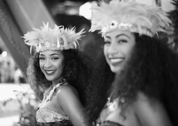 "HOLLYWOOD, CA - NOVEMBER 14: (EDITORS NOTE: Image has been shot in black and white. Color version not available.) Dancers Anika Quinones (L) and Kiana Vergara attend The World Premiere of Disney's ""MOANA"" at the El Capitan Theatre on Monday, November 14, 2016 in Hollywood, CA. (Photo by Charley Gallay/Getty Images for Disney) *** Local Caption *** Anika Quinones; Kiana Vergara"