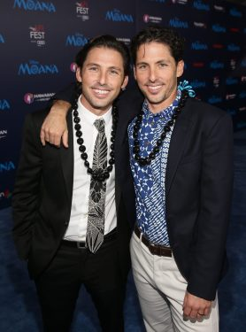 "HOLLYWOOD, CA - NOVEMBER 14: Writers Jordan Kandell (L) and Aaron Kandell attend The World Premiere of Disney's ""MOANA"" at the El Capitan Theatre on Monday, November 14, 2016 in Hollywood, CA. (Photo by Jesse Grant/Getty Images for Disney) *** Local Caption *** Aaron Kandell; Jordan Kandell"