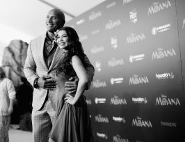 """HOLLYWOOD, CA - NOVEMBER 14: (EDITORS NOTE: Image has been shot in black and white. Color version not available.) Actors Dwayne Johnson (L) and Auli'i Cravalho attend The World Premiere of Disney's """"MOANA"""" at the El Capitan Theatre on Monday, November 14, 2016 in Hollywood, CA. (Photo by Charley Gallay/Getty Images for Disney) *** Local Caption *** Auli'i Cravalho; Dwayne Johnson"""