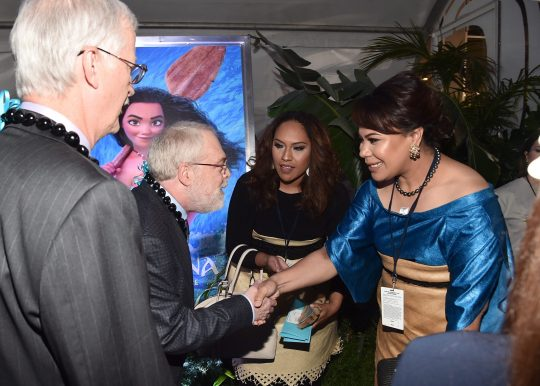 """HOLLYWOOD, CA - NOVEMBER 14: (L-R) Directors John Musker and Ron Clements greet Hon. Frederica Tuita Filipe at The World Premiere of Disney's """"MOANA"""" at the El Capitan Theatre on Monday, November 14, 2016 in Hollywood, CA. (Photo by Alberto E. Rodriguez/Getty Images for Disney) *** Local Caption *** Frederica Tuita Filipe; John Musker; Ron Clements"""