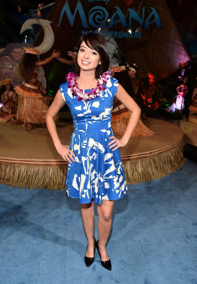 "HOLLYWOOD, CA - NOVEMBER 14: Actress Kate Micucci attends The World Premiere of Disney's ""MOANA"" at the El Capitan Theatre on Monday, November 14, 2016 in Hollywood, CA. (Photo by Alberto E. Rodriguez/Getty Images for Disney) *** Local Caption *** Kate Micucci"