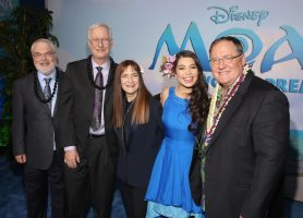 "HOLLYWOOD, CA - NOVEMBER 14: (L-R) Directors Ron Clements and John Musker, producer Osnat Shurer, actress Auli'i Cravalho, and executive producer John Lasseter attend The World Premiere of Disney's ""MOANA"" at the El Capitan Theatre on Monday, November 14, 2016 in Hollywood, CA. (Photo by Jesse Grant/Getty Images for Disney) *** Local Caption *** Auli'i Cravalho; John Lasseter; John Musker; Ron Clements; Osnat Shurer"