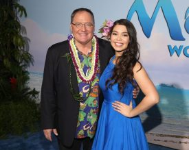 """HOLLYWOOD, CA - NOVEMBER 14: Executive producer John Lasseter (L) and Auli'i Cravalho attend The World Premiere of Disney's """"MOANA"""" at the El Capitan Theatre on Monday, November 14, 2016 in Hollywood, CA. (Photo by Jesse Grant/Getty Images for Disney) *** Local Caption *** Auli'i Cravalho; John Lasseter"""