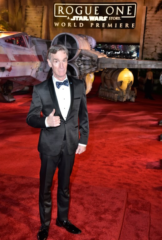 "HOLLYWOOD, CA - DECEMBER 10: Bill Nye attends The World Premiere of Lucasfilm's highly anticipated, first-ever, standalone Star Wars adventure, ""Rogue One: A Star Wars Story"" at the Pantages Theatre on December 10, 2016 in Hollywood, California. (Photo by Marc Flores/Getty Images for Disney) *** Local Caption *** Bill Nye"