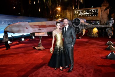 """HOLLYWOOD, CA - DECEMBER 10: Actress Jaime King (L) and filmmaker Kyle Newman attend The World Premiere of Lucasfilm's highly anticipated, first-ever, standalone Star Wars adventure, """"Rogue One: A Star Wars Story"""" at the Pantages Theatre on December 10, 2016 in Hollywood, California. (Photo by Marc Flores/Getty Images for Disney) *** Local Caption *** Jaime King; Kyle Newman"""
