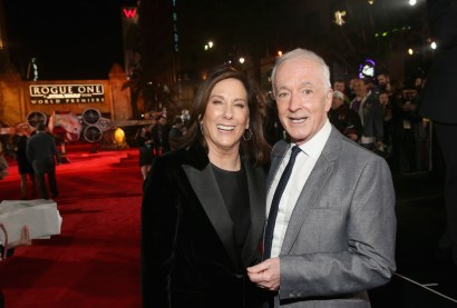 """HOLLYWOOD, CA - DECEMBER 10: Producer Kathleen Kennedy (L) and actor Anthony Daniels attend The World Premiere of Lucasfilm's highly anticipated, first-ever, standalone Star Wars adventure, """"Rogue One: A Star Wars Story"""" at the Pantages Theatre on December 10, 2016 in Hollywood, California. (Photo by Jesse Grant/Getty Images for Disney) *** Local Caption *** Kathleen Kennedy; Anthony Daniels"""