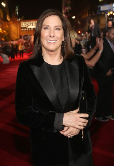 """HOLLYWOOD, CA - DECEMBER 10: Producer Kathleen Kennedy attends The World Premiere of Lucasfilm's highly anticipated, first-ever, standalone Star Wars adventure, """"Rogue One: A Star Wars Story"""" at the Pantages Theatre on December 10, 2016 in Hollywood, California. (Photo by Jesse Grant/Getty Images for Disney) *** Local Caption *** Kathleen Kennedy"""