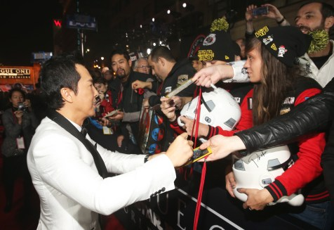 """HOLLYWOOD, CA - DECEMBER 10: Actor Donnie Yen attends The World Premiere of Lucasfilm's highly anticipated, first-ever, standalone Star Wars adventure, """"Rogue One: A Star Wars Story"""" at the Pantages Theatre on December 10, 2016 in Hollywood, California. (Photo by Jesse Grant/Getty Images for Disney) *** Local Caption *** Donnie Yen"""